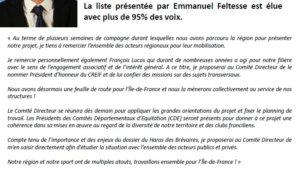 Emmanuel Feltesse plébiscité au CREIF
